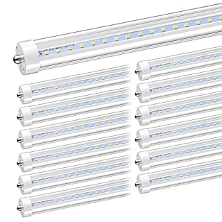 "CNSUNWAY LIGHTING 8FT LED Bulb, 96"" 45 Watts T8 Single Pin LED Tubes with Clean Cover, 4800LM Super Bright, 6000K Cool White, T8 T10 T12 Fluorescent Fixture Replacement(12-Pack)"
