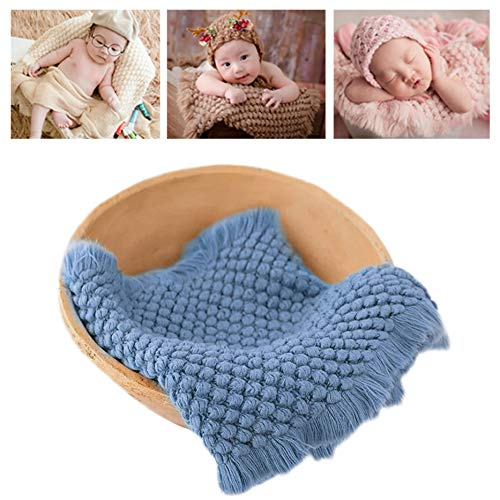 Newborn Photography Wrap | Knitted Blanket for Baby Photo Props | 14 X 63 inch Newborn Rug Basket Filler with Tassel Blue]()