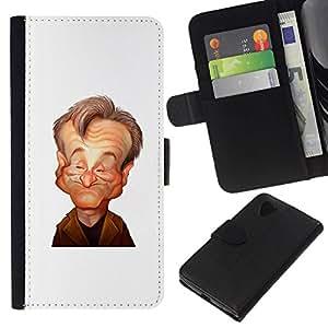 All Phone Most Case / Oferta Especial Cáscara Funda de cuero Monedero Cubierta de proteccion Caso / Wallet Case for LG Nexus 5 D820 D821 // robin el actor cómico de stand up caricatura