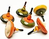 6 Pcs Lot Handmade Wooden Spining Tops Toys Vintage Indian Craft Curio Gift