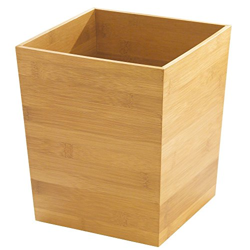 InterDesign Formbu Wastebasket – Home or Office Trash Can, Bamboo (Waste Square Basket)