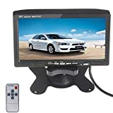 KLAREN 7'' HD 800480 TFT Color LCD Screen 2 Video Input Car Rear View Headrest Monitor DVD VCR Monitor with Remote Control and Stand Support Rotating The Screen