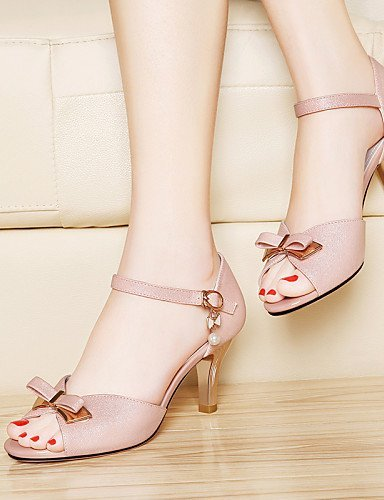 ShangYi Damens's Heel Schuhes Lederette Stiletto Heel Damens's Peep Toe Sandales Wedding / Office & Career / Party & Evening Pink / Weiß Pink 355a06