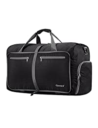 Gonex 60L Foldable Travel Duffel Bag for Luggage, Gym, Sport, Camping, Storage, Shopping Water Repellent & Tear Resistant (Black)