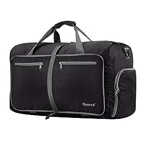 Gonex 60L Foldable Travel Duffel Bag Water & Tear Resistant, Black