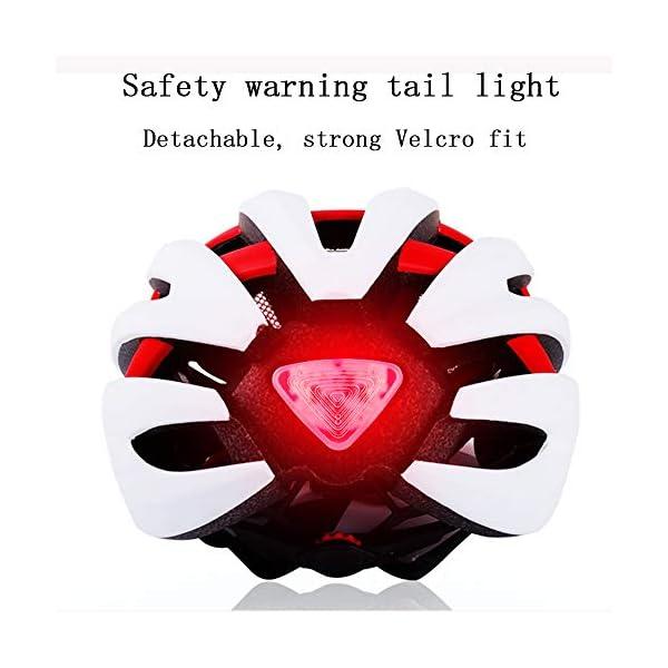 EDW Casco Bluetooth Intelligente per Bici Musica Chiamata Intelligence Cappellino di Sicurezza Equipaggiamento Protettivo Antiurto Leggero 5 Colori Incluso fanale Posteriore Staccabile,Whitered 5 spesavip