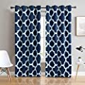 GANAKISS Thermal Insulated Blackout Drapes Large Print Window Curtains Grommet Pair for Living Room(W52 by L84)