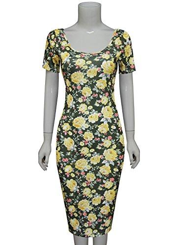 Tom's Ware Women's Sweetheart Short Sleeve Midi Dress TWCWD053-KHAKIYELLOW-US S