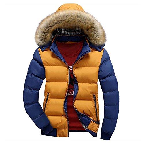 Sciare Inverno Giacche Cappuccio Ragazzi Moda Spessore Cappotti Caldo Giallo Capispalla Hibote Pelliccia Uomo Outwear blu Parka FPwnqxpSp