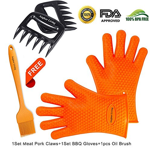 ANGKOR LIVING Best Silicone BBQ Gloves Set - Heat Resistant Grilling Gloves / Oven Mitts, Meat Shredder Bear Claws and Basting Brush for Cooking, Grilling, Baking and Barbecue