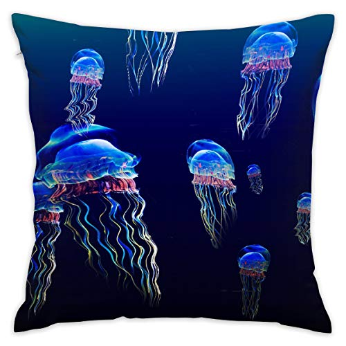 - Reteone Beautiful Jellyfish Watercolor Painting Pillowcase Covers - Zippered Pillow Case Cover, Pillow Protector, Best Throw Pillow Cover - Standard Size 18x18 Inch, Double-Sided Print Pillowcases
