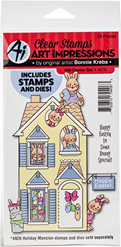 Acrylic Die Cut Magnet - Art Impressions 4976 Holiday Mansion Stamp and Die Set Easter, Multi