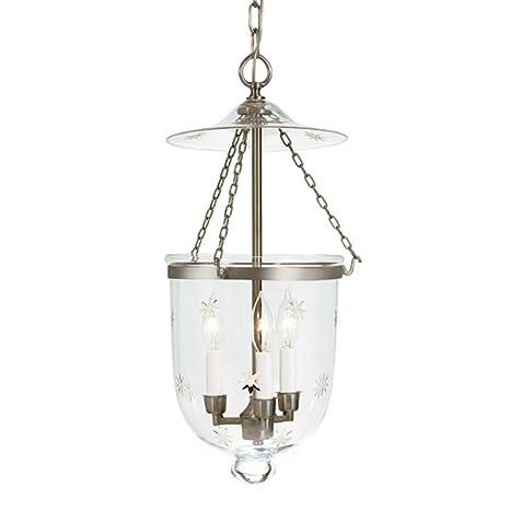 3 light medium bell jar foyer pendant with star glass finish pewter