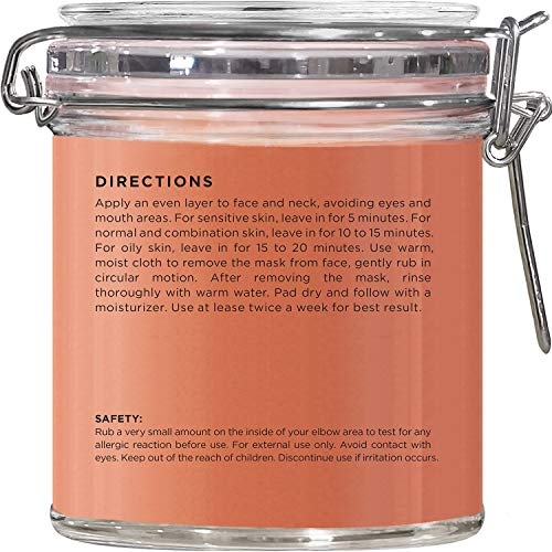 MAJESTIC PURE Moroccan Red Clay Facial Mud Mask with British Rose - Natural Skin Care Mask for Pore Cleansing and Dull & Sensitive Skin - Fights Acne and Blackheads - 10 oz