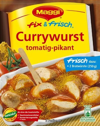 Sausage Curry - MAGGI fix & fresh Curried Sausage (Currywurst) (3 Bags) by Maggi