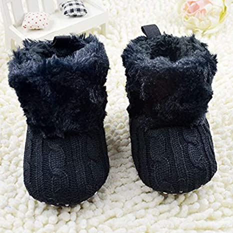 CYCTECH Baby Soft Sole Bow Anti-Slip Warm Winter Infant Prewalker Toddler Snow Boots 0-18 Months 12-18months, Black
