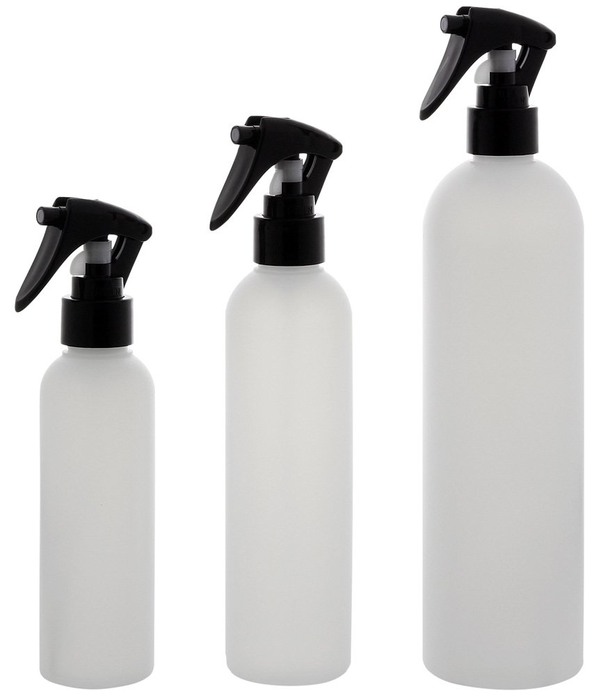 Leere Sprühkopf-Flasche 250ml, Kosmetex Sprühflasche, Plastik, zylindrisch, halbtransparent, 1 x 250 ml Kosmetex Sprühflasche