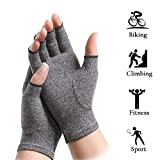 Onefa Arthritis Gloves Compression Glove for Rheumatoid Osteoarthritis Heat Hand Gloves Also for Computer Typing Joint Finger Pain Relief Hand Wrist Support Brace (Gray, L)