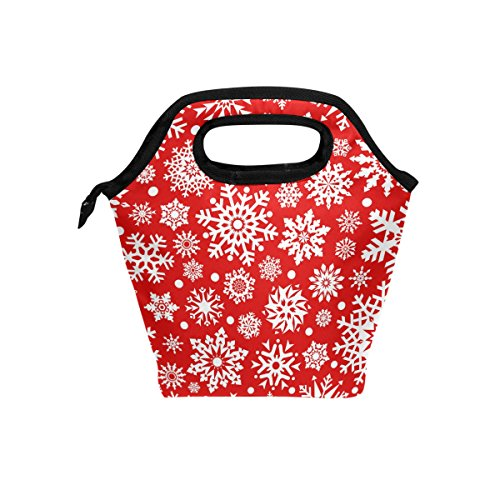 (LORVIES Snowflakes Red Lunch Tote Bag Insulated Thermal Cooler Lunch Bag Waterproof Neoprene Lunch Handbags Tote with Zipper for Outdoor Travel Picnic)