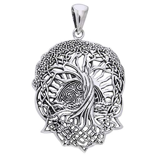 Life Celtic Knot - Rising Sun - Interconnected Celtic Knot Tree and Roots of Life Sterling Silver Pendant
