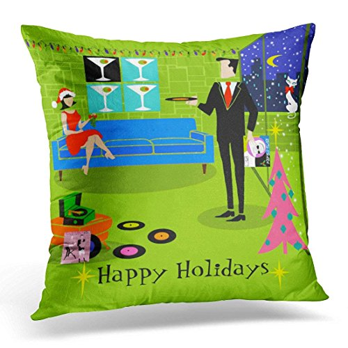 throw pillow cover pink mid retro urban christmas colorful century decorative pillow case home decor square 18 x 18 inch pillowcase