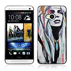Designer Depo Hard Protection Case for HTC One M7 / Pop Art Native American Woman