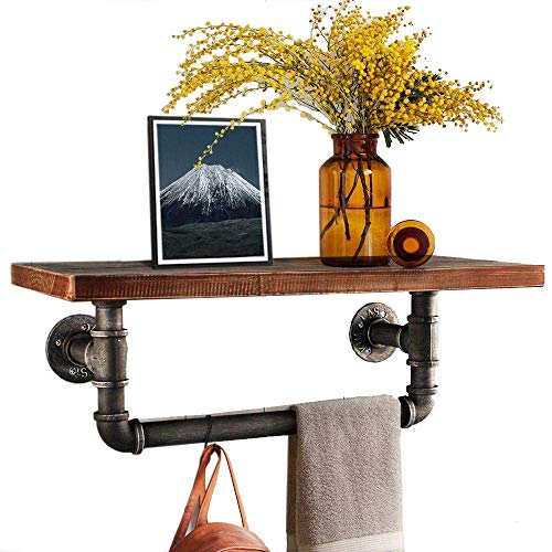 Diwhy Industrial Pipe Shelf Shelving Pine Wood and Pipe Towel Rack - Multiple Shelves (Wood 02, 24