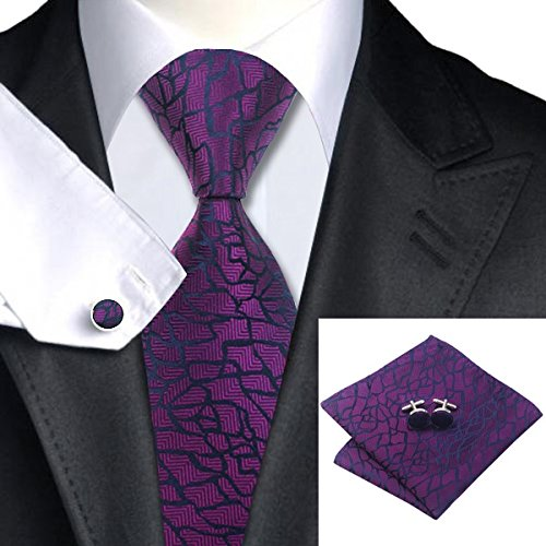 - Purple Blue Striped Man's Brand New Silk Polyester Woven Luxury Tie Classic Business