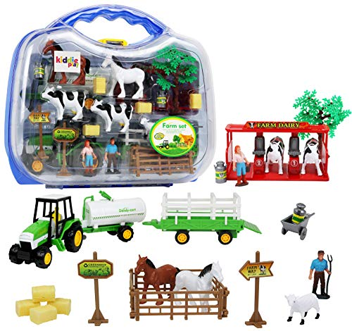 Kiddie Play Farm Toys Set with Farm Animals for Toddlers (25 (Livestock Trailer)