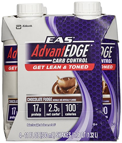 EAS AdvantEDGE Carb Control Chocolate Fudge Carton Ready To Drink, 11-Fluid Ounce, 4 Count - Edge Protein