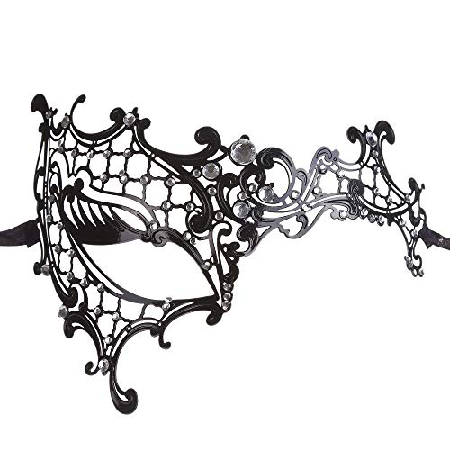 Rehot Womens Masquerade Mask Metal Rhinestone Venetian Halloween Christmas Party Evening Prom Mask -