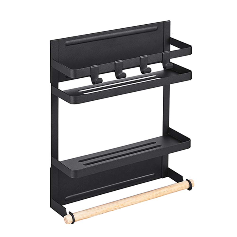 WENZHE Kitchen Storage Rack Spice Cooker Shelf Wall Mounted Black Metal Refrigerator Side Wall Hanger Multifunction Storage Hanging Magnetic, 2 Sizes (Color : Black, Size : 26x8x31.5cm)