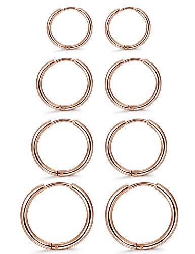 Delicate Hoop (ORAZIO 4 Pairs Stainless Steel Hoop Earrings Set Huggie Earrings for Women,10MM-16MM)