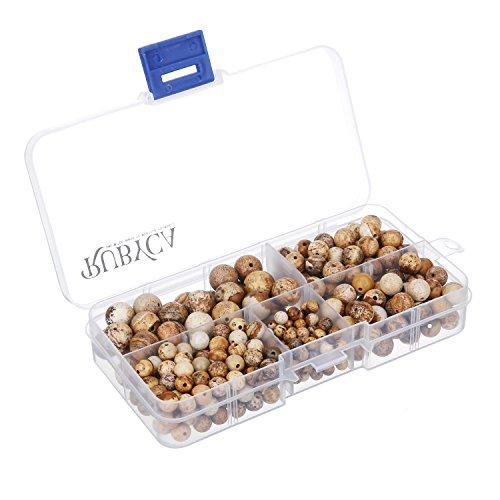 RUBYCA Natural Picture Jasper Gemstone Round Loose Beads Organizer Box DIY Jewelry Making Mix Sizes