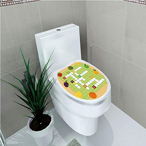 Toilet Cover Decoration,Word Search Puzzle,Vivid Graphic Summer Fruits with Educational Crossword Game for Kids Decorative,Multicolor,3D Printing,W12.6