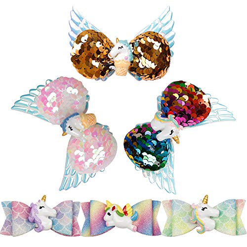 CN Girl Hair Bow Clip Glitter Horse Wings Hair Boutique Accessories Set For Baby Girls Children Set Of 6 ()