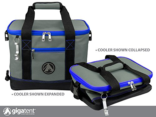 (GigaTent Insulated Collapsible Cooler - Soft Lunch Box with Bottle Opener for Camping, Beach and Travel - Lightweight and Tear Resistant Fabric (Small - 12