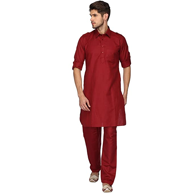 4a9333289 Kashish by Shoppers Stop Mens Collared Solid Kurta and Pyjama Set   Amazon.in  Clothing   Accessories
