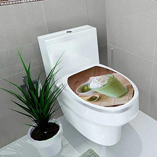 - Vanfan Home Decoration Green Tea Smoothie Blended Beverage Whipped Cream Matcha Powder Spoon Toilet Cover Stickers W6 x L8