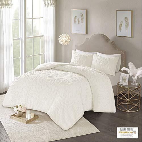 "Madison Park Laetitia Comforter Bohemian Tufted 100% Cotton Chenille, Medallion Shabby Chic All Season Down Alternative Bed Set with Matching Shams, King/Cal King(104""x92""), Floral Ivory"
