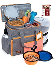 Dog Travel Bag Week Away/Overnight Accessories Organizer - Pet First Aid Pouch - Airline Approved - 2 Food Storage Containers and Collapsible Bowls - Water Resistant for Dog Lovers!