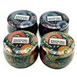 Leiqin Floral Candle Making Kit Metal Jar Storage Case Art Handcraft Containers with Lid-4PCS