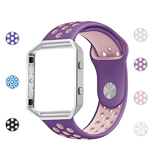 iGK Silicone Replacement Bands Compatible for Fitbit Blaze, Soft Sport Strap with Metal Frame for Fitbit Blaze Purple & Lavender Band with Silver Frame Large