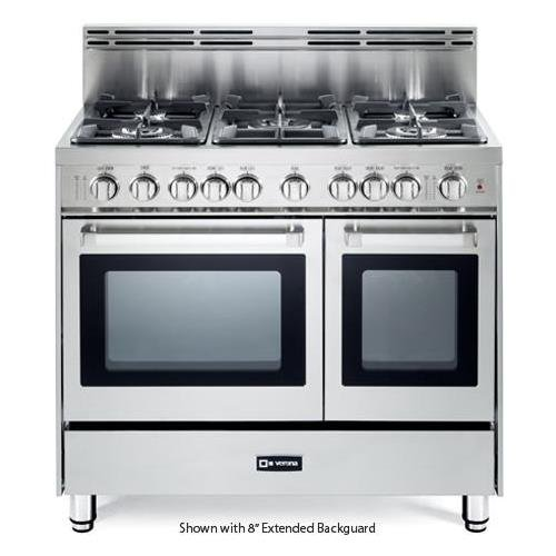 Verona VEFSGG365NDSS 36'' Pro-Style Gas Range with 5 Sealed Burners 2 Turbo-Electric Convection Ovens Manual Clean Infrared Broiler Bell Timer and Storage Drawer in Stainless Steel by Verona