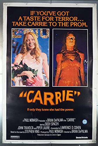 Carrie (1976) Original U.S. 40x60 Movie Poster Rolled Theater-Used Very Good Plus Condition SISSY SPACEK PIPER LAURIE Based on a novel by STEPHEN KING Film directed by BRIAN DePALMA