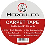 "concrete floor tiles HERCULES Double Sided Carpet Tape, Heavy Duty Grip Anti Slip Design for Rugs, Carpets, Mats, Strongest Hold for Hard Wood Floors, Tile, Concrete, Stair Treads, All Flooring, 30 Yards Long, 2"" Wide"