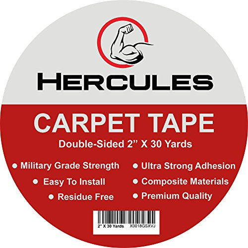 (HERCULES Double Sided Carpet Tape, Heavy Duty Grip Anti Slip Design for Rugs, Carpets, Mats, Strongest Hold for Hard Wood Floors, Tile, Concrete, Stair Treads, All Flooring, 30 Yards Long, 2