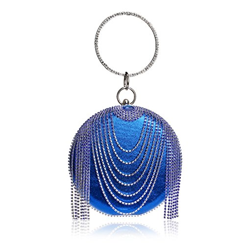 foreign trade bag and handbag American evening Blue rhinestone Fly evening bag Color ladies dress European tassel Blue qOIwtt