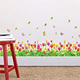 ufengke 3D Stereo Tulip Skirting Board Wall Stickers Rustic Pastoral Removable Vinyl Wall Art Decals for Living Room Bedroom