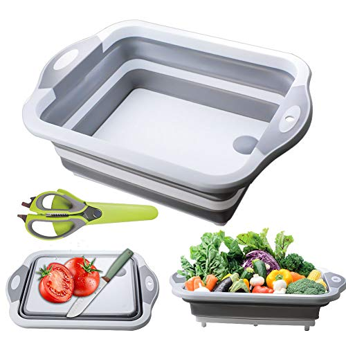 Collapsible Cutting Board, Portable Washing Veggies Fruits Food Grade Camping Sink with Draining Plug and Multifunction kitchen scissors- Foldable Multi-function Kitchen Plastic Silicone Dish Tub